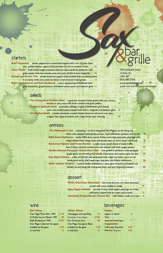 a menu designed by Maggie Ziegler