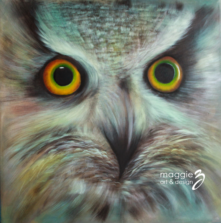 An acrylic painting of an owl titled Wisdom III by artist and designer Maggie Ziegler