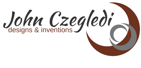 logo for John Czegledi Inventions and Designs, designed by Maggie Ziegler, artist and designer form Courtenay BC