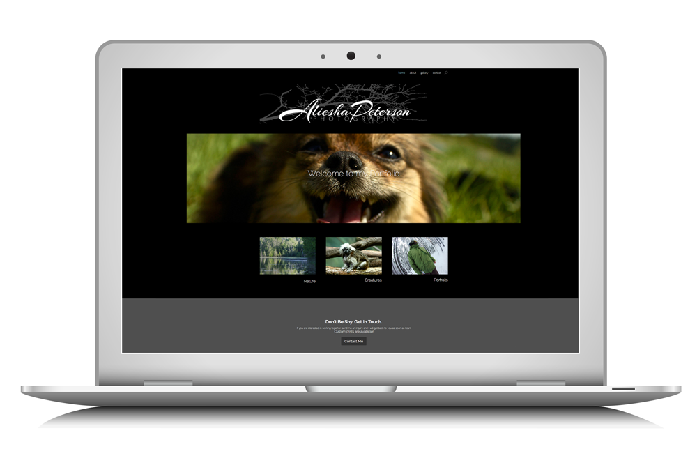 website for Aliesha Peterson Photography designed by Maggie Ziegler, artist and designer form Courtenay BC