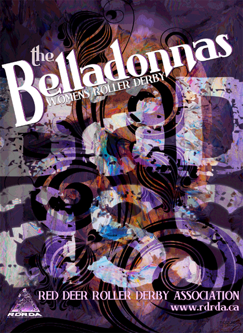 A poster designed for the Red Deer Belladonnas by Courtenay BC artist and designer Maggie Ziegler