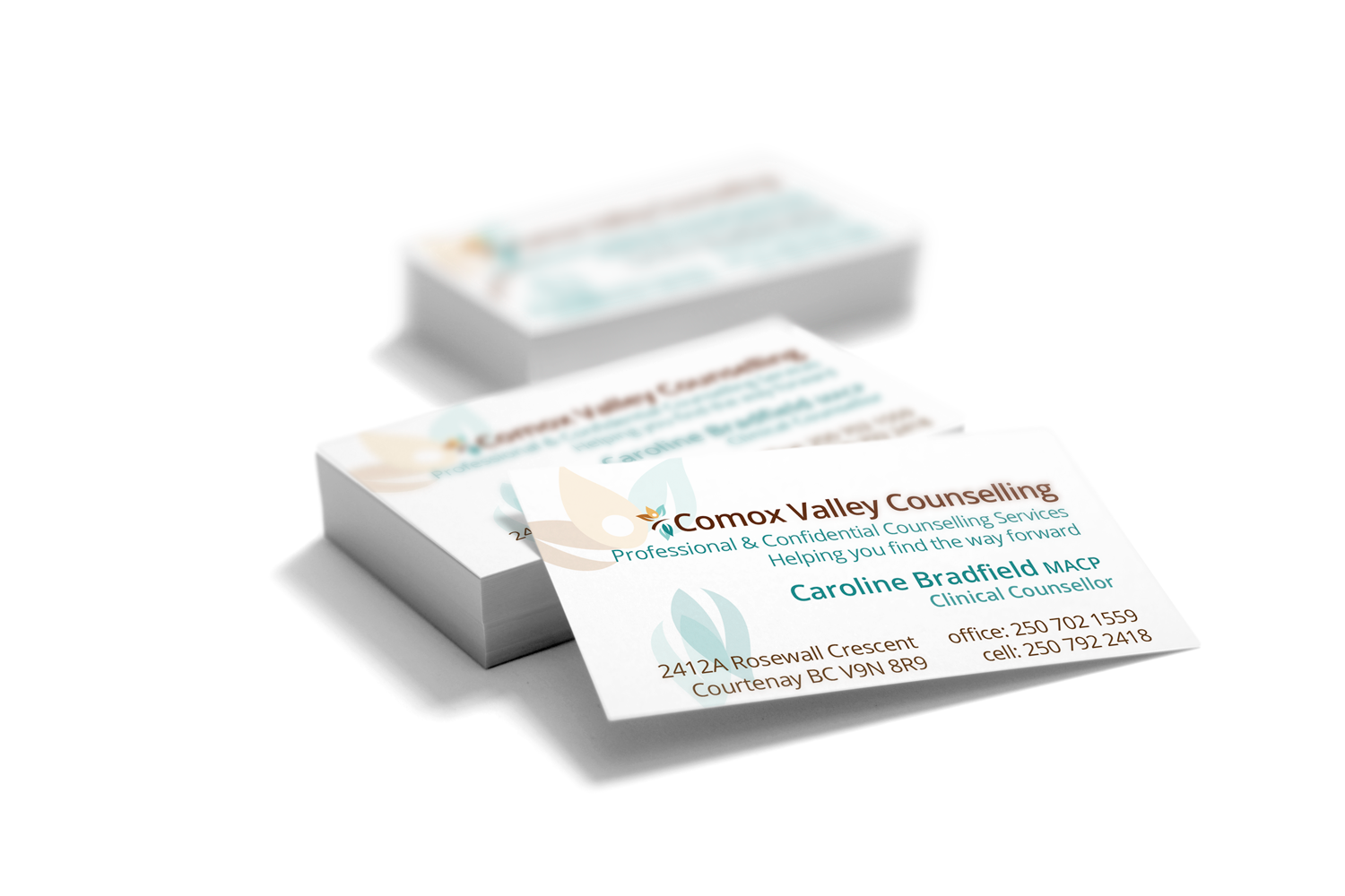 business cards for Comox Valley Counselling, designed by Maggie Ziegler