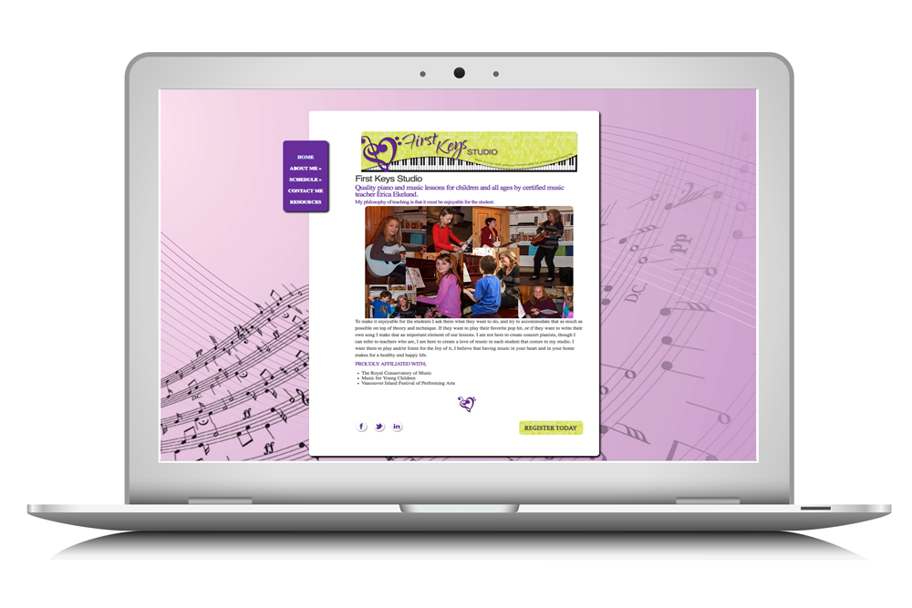 a website designed for First Keys Studio by Maggie Ziegler, artist and designer from Courtenay BC